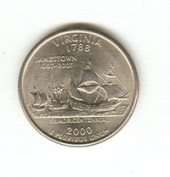 Квотеры, US quarter 2000 P - Virginia