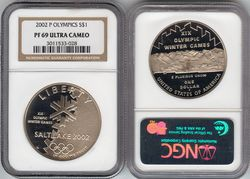 1 доллар 2002 P - Saltlake / США (серебро, PF69 NGC sertificated)